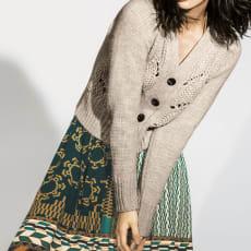 イタリア糸使用 手編み風ビッグケーブル カーディガン