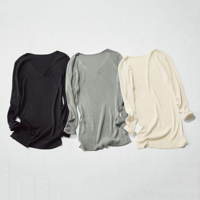 UVカット シルク100% リブニットシリーズ 美デコルテ Vネックプルオーバー 左からブラック 、カーキグレー、オフホワイト ※今回はカーキグレーの販売のみです。