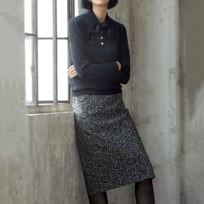 イタリア素材 ローズ刺繍 千鳥 スカート 写真