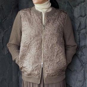 イタリア素材 スパンコール使い キルト&イタリア糸 ニットジャケット 写真