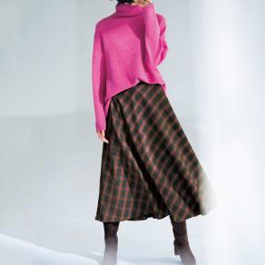 イタリア素材 チェック柄 ロング フレアースカート 写真