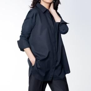 スビン綿 布帛×ジャージーコンビ シャツ 写真