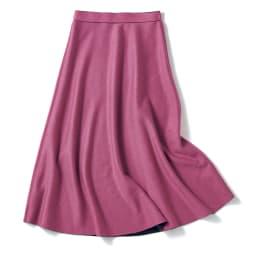 ダブルフェイス リバーシブル ニットスカート ブラック×ピンク(ピンク面)