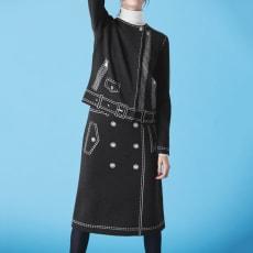 トロンプルイユ(だまし絵) トレンチ風 ニットスカート【2点以上で10%OFF】