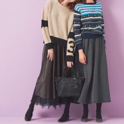裾レース付き ギャザーロングスカート (左)裾レース付き ギャザーロングスカート コーディネート例