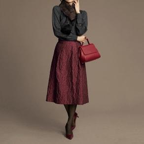 イタリア素材 リーフ柄ジャカード スカート 写真