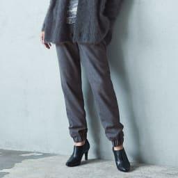 (股下丈70cm) ウールビエラ  ドローストリング ジョガーパンツ 着用例
