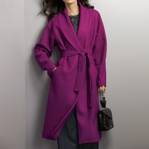 イタリア素材 ウールジャージー ショールカラー コート 写真
