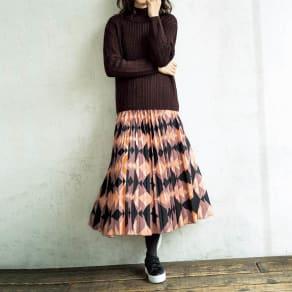 幾何学プリントプリーツスカート 写真