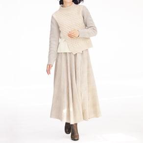 ウール混ガーゼ チェック スカート 写真