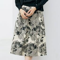 イタリア素材 フラワージャカード タック スカート 着用例