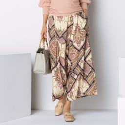 フランス素材 ハンカチーフプリント タックフレアー パンツ 着用例