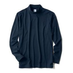 「i cotoni di ALBINI」 超長綿ハイネックTシャツ (ア)ネイビー
