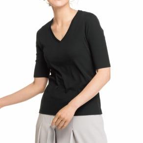 「フレスカ」 コットンスムース Vネック Tシャツ 写真