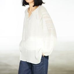 シルク混楊柳 刺繍レース ブラウス コーディネート例