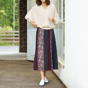 パッチワークプリント ロングスカート 写真