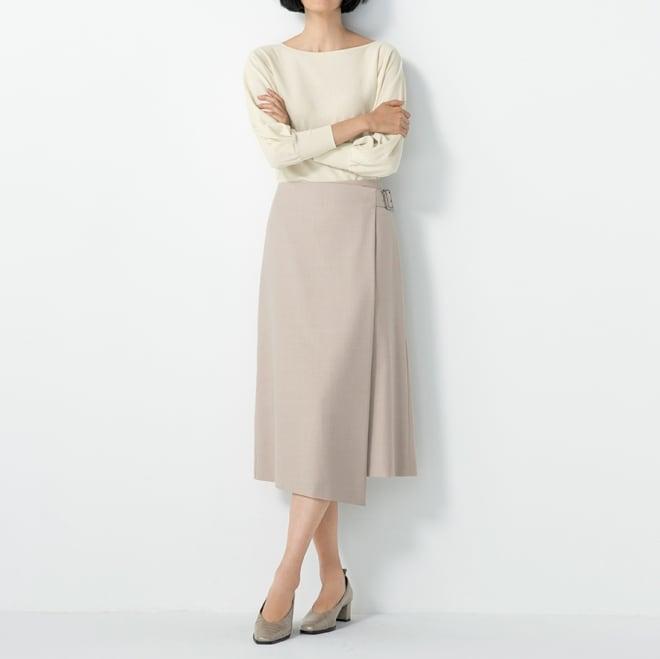 ウール混 ラップ風 スカート (ア)サンドベージュ コーディネート例