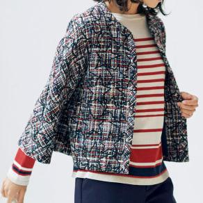 イタリア素材 スター刺繍入り ツイードジャケット 写真