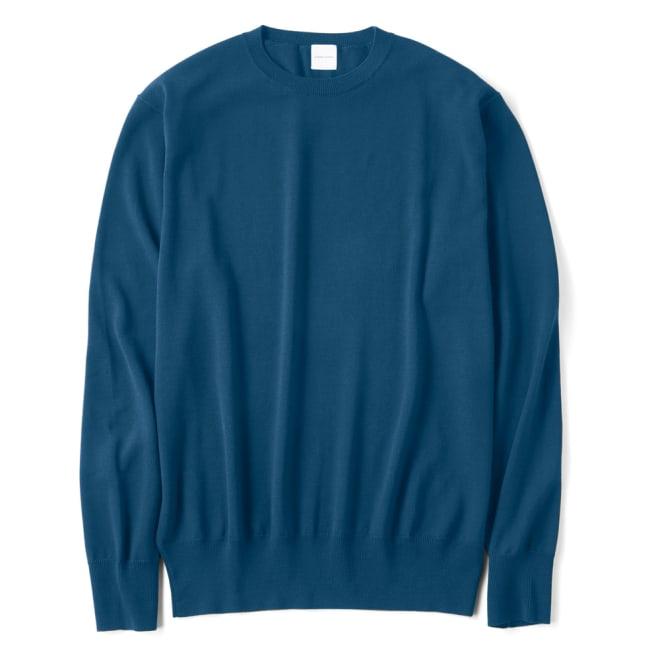 イタリア糸 クルーネック ニットプルオーバー(サイズM) (ア)ブルー