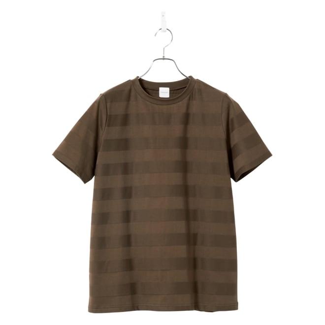 リンクス編みTシャツ (ウ)カーキボーダー