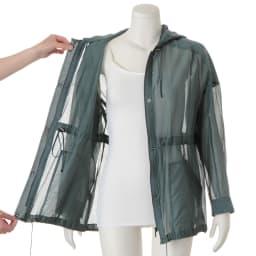 コットンシルクオーガンジー シャツジャケット ウエスト・裾・フード周りドローストリング仕様 ※インナーは含まれません。