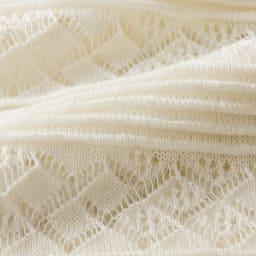 強撚糸使い 透かし編み ボーダー カーディガン 生地アップ