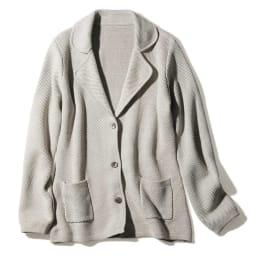 コットンシルク 鹿の子編み テーラードジャケット(サイズ3L)