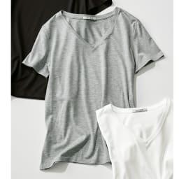 新美デコルテ(R) 合わせ細V開き半袖Tシャツ (ウ)グレー