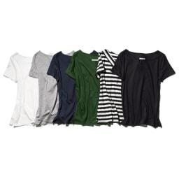 新美デコルテ(R) 合わせV開き半袖Tシャツ 左から(ア)オフホワイト、(イ)グレー、(ウ)ネイビー、(カ)グリーン、(エ)ブラック×オフホワイト、(オ)ブラック