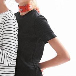 超長綿スビンギザコットン ワイドリブ長袖Tシャツ(サイズS) ※ブラック半袖の参考画像です。今回はブラック長袖のみの販売です