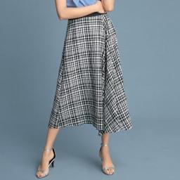 シルク混 ギンガムチェック フレアースカート(サイズ67) 着用例