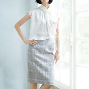 フランス素材 ラメツイード タイトスカート 写真