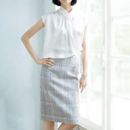 フランス素材 ラメツイード タイトスカート コーディネート例