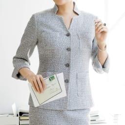 フェルラ社 リネン混 からみ織り ジャケット 着用例