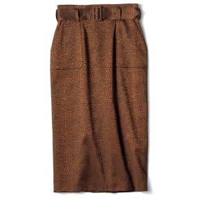 フランス素材 レオパード柄 ジャカード スカート 写真