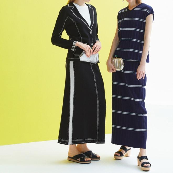 トロンプルイユ(だまし絵) ニットロングスカート (左)トロンプルイユ(だまし絵) ニットロングスカート コーディネート例