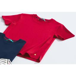 超長綿スビンギザコットン ワイドリブTシャツ 上から (イ)レッド (エ)ネイビー、ボーダー(ホワイト×ブラック) ※今回、ボーダー(ホワイト×ブラック)の販売はございません。