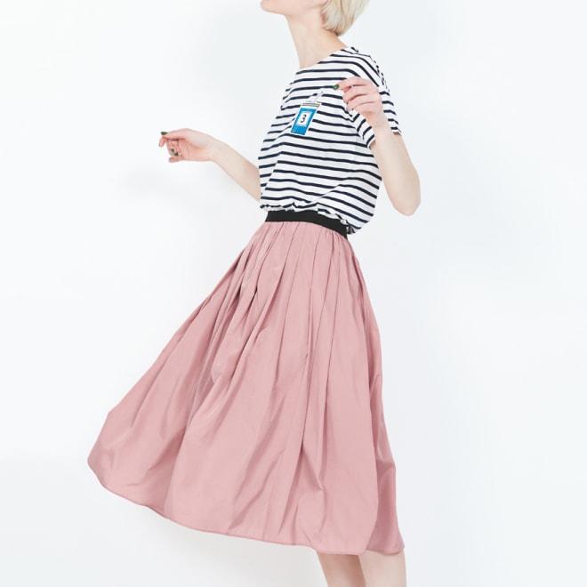 (総丈63cm)TRECODE/トレコード 神戸・山の手スカート (イ)ピンク コーディネート例