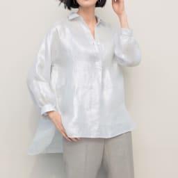 リベコ社 箔プリント リネン スキッパーシャツ コーディネート例