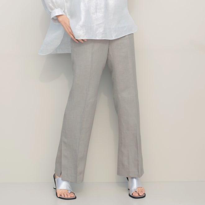 (股下丈75cm)リベコ社 裾ベント入り リネン セミワイドパンツ 着用例