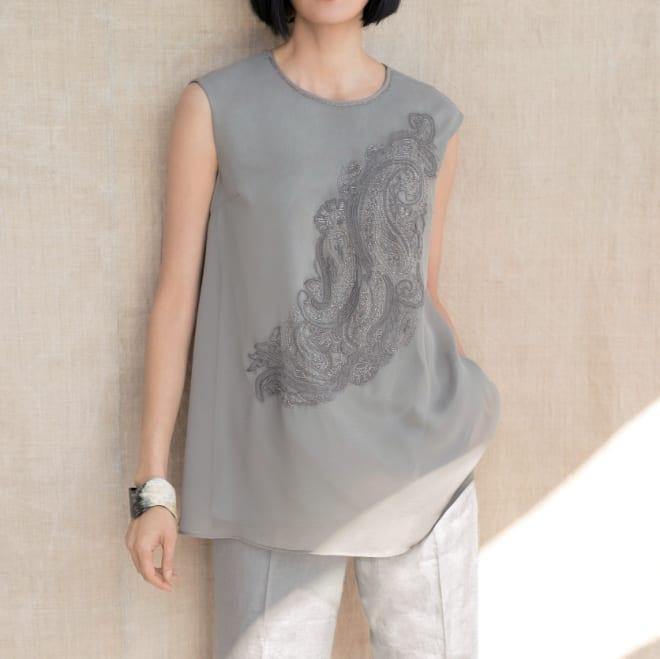 ベトナム ハンドビーズ刺繍 チュニック コーディネート例