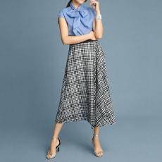 シルク混 ギンガムチェック フレアースカート(サイズ67)