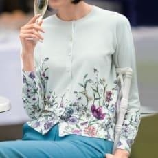 フラワープリント&ビーズ刺繍 カーディガン