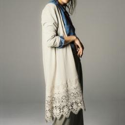 イタリア糸コットン 裾レースロングカーディガン (イ)アイスグレー コーディネート例