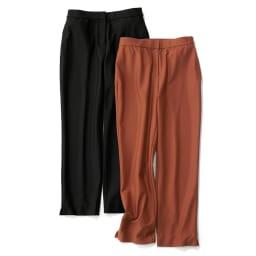 裾スリットデザイン クロップトパンツ(サイズ64) 左からブラック、テラコッタ ※今回テラコッタの販売はございません。参考画像です。