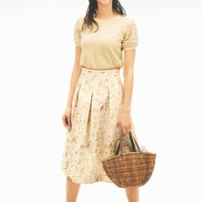 フランス製生地 ローズジャカード フレアスカート 写真