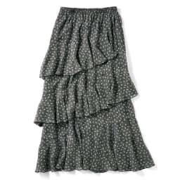 プリント柄 ティアードスカート