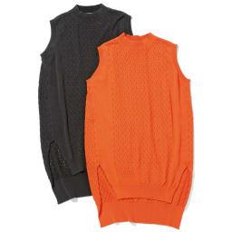 プチハイネック ニットチュニック(サイズLL) 左からブラック、オレンジ ※今回ブラック色の販売はございません。参考画像です。
