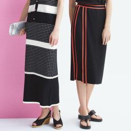 編み地変化 ボーダーニット ロングスカート (左)編み地変化 ボーダーニット ロングスカート コーディネート例