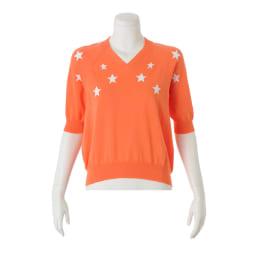 星柄インターシャ ニットプルオーバー (イ)オレンジ